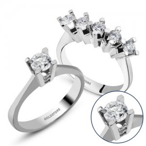 1ct. Diamond 14K Solid Gold Solitaire 5 Stones Ring