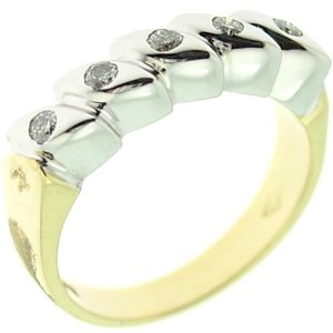 0.19ct. Diamond 18K Solid Gold 5 Stones Ring