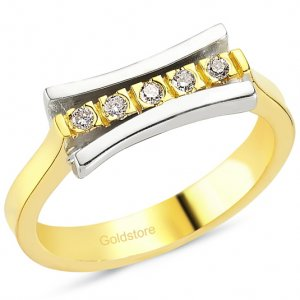 0.13ct. Diamond 18K Solid Gold 5 Stones Ring