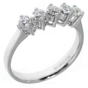 0.54ct. Diamond 18K Solid Gold 5 Stones Ring