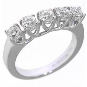 0.79ct. Diamond 18K Solid Gold 5 Stones Ring
