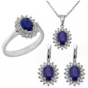 0.64ct. Diamond 3.20ct. Sapphire 18K Solid Gold Halo Set