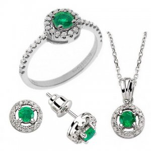 0.38ct. Diamond 0.55ct. Emerald 18K Solid Gold Halo Set