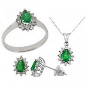 0.48ct. Diamond 1.40ct. Emerald 18K Solid Gold Halo Set
