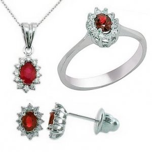0.28ct. Diamond 1.00ct. Ruby 18K Solid Gold Halo Set