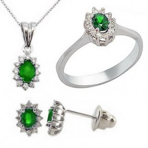 0.28ct. Diamond 0.71ct. Emerald 18K Solid Gold Halo Set
