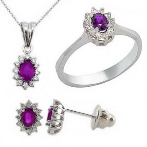 0.28ct. Diamond 18K Solid Gold Halo Amethyst Set