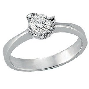 0.39ct. Diamond 18K Solid Gold Solitaire Ring