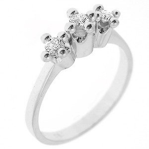 0.28ct. Diamond 18K Solid Gold 3 Stone Ring