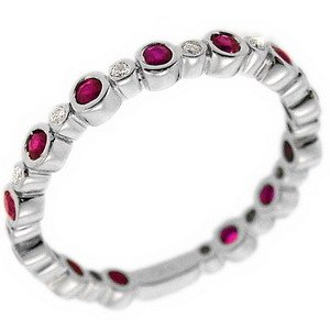 0.08ct. Diamond 0.55ct. Ruby 18K Solid Gold Eternity Ring