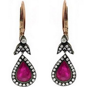 0.36ct. Diamond 2.18ct. Ruby 8K Solid Gold Rose Cut Earring