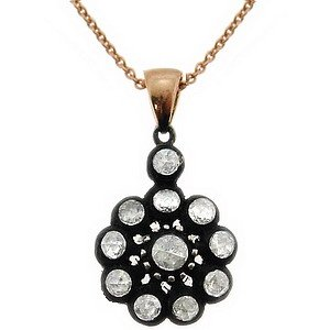0.41ct. Diamond 8K Solid Gold Rose Cut Necklace