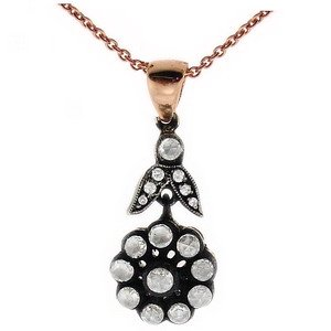 0.3ct. Diamond 8K Solid Gold Rose Cut Necklace