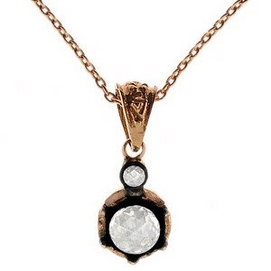 0.33ct. Diamond 8K Solid Gold Solitaire Rose Cut Necklace