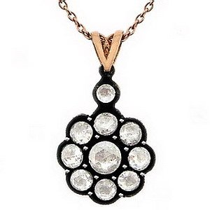 0.65ct. Diamond 8K Solid Gold Rose Cut Necklace