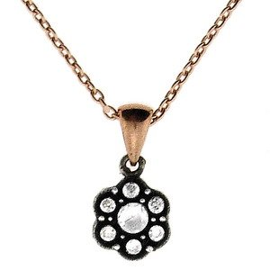 0.1ct. Diamond 8K Solid Gold Rose Cut Necklace