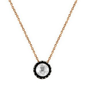 0.07ct. Diamond 8K Solid Gold Solitaire Rose Cut Necklace