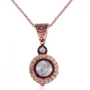 0.32ct. Diamond 8K Solid Gold Solitaire Rose Cut Necklace