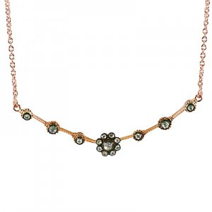0.26ct. Diamond 8K Solid Gold Modern Design Rose Cut Necklace