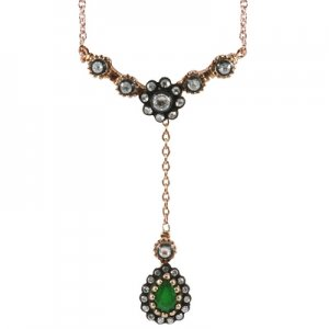 0.37ct. Diamond 0.38ct. Emerald 8K Solid Gold Modern Design Rose Cut Necklace
