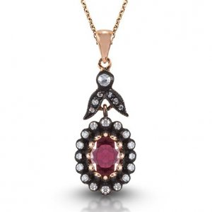 0.17ct. Diamond 0.85ct. Ruby 8K Solid Gold Modern Design Necklace