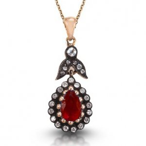0.17ct. Diamond 1.00ct. Ruby 8K Solid Gold Modern Design Necklace