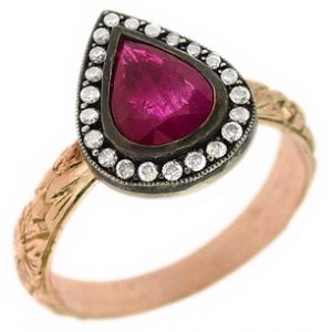 0.12ct. Diamond 0.88ct. Ruby 8K Solid Gold Halo Ring