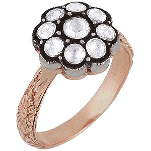 0.59ct. Diamond 8K Solid Gold Rose Cut Ring