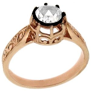 0.44ct. Diamond 8K Solid Gold Solitaire Rose Cut Ring