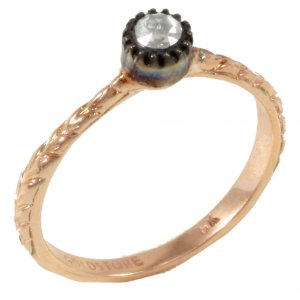 0.2ct. Diamond 8K Solid Gold Solitaire Rose Cut Ring