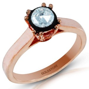 0.34ct. Diamond 8K Solid Gold Solitaire Rose Cut Ring