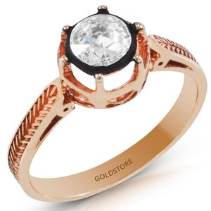 0.39ct. Diamond 8K Solid Gold Solitaire Rose Cut Ring