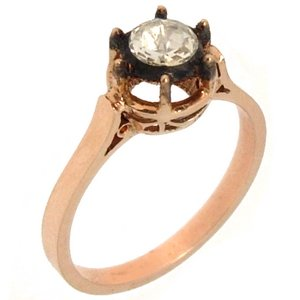0.4ct. Diamond 8K Solid Gold Solitaire Rose Cut Ring
