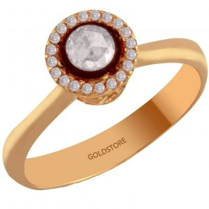 0.3ct. Diamond 8K Solid Gold Solitaire Rose Cut Ring
