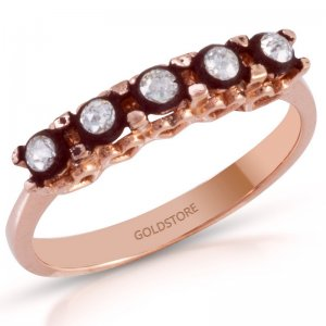 0.15ct. Diamond 8K Solid Gold 5 Stones Half Eternity Rose Cut Ring