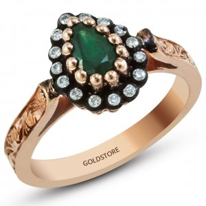 0.1ct. Diamond 0.35ct. Emerald 8K Solid Gold Modern Design Halo Ring