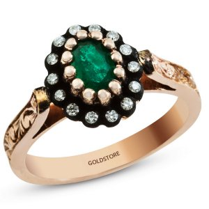 0.1ct. Diamond 0.30ct. Emerald 8K Solid Gold Modern Design Ring