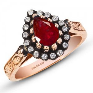 0.12ct. Diamond 0.90ct. Ruby 8K Solid Gold Modern Design Halo Ring