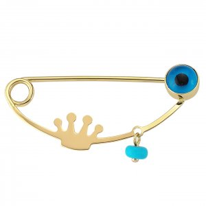 14K Solid Gold Modern Design Evil Eye Turquoise Brooch