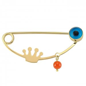 14K Solid Gold Modern Design Evil Eye Coral Brooch