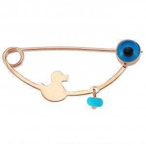14K Solid Gold Modern Design Turquoise Brooch