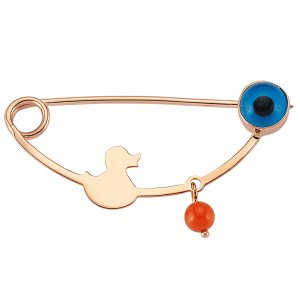 14K Solid Gold Modern Design Coral Brooch