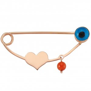 14K Solid Gold Initial Heart Evil Eye Coral Brooch