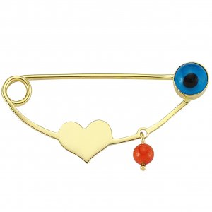 14K Solid Gold Modern Design Heart Evil Eye Coral Brooch