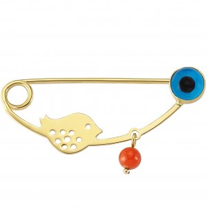14K Solid Gold Modern Design Evil Eye Bird Coral Brooch