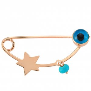 14K Solid Gold Modern Design Evil Eye Bird Star Turquoise Brooch