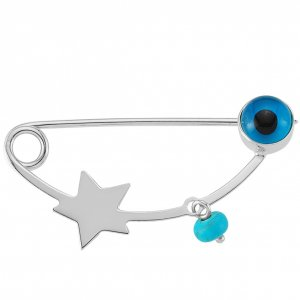 14K Solid Gold Modern Design Evil Eye Star Turquoise Brooch
