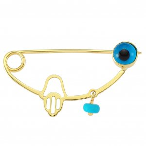 14K Solid Gold Modern Design Evil Eye Hamsa Palm Turquoise Brooch