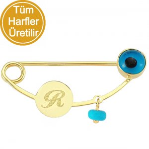 14K Solid Gold Initial Evil Eye Turquoise Brooch