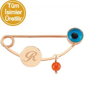14K Solid Gold Initial Evil Eye Coral Brooch